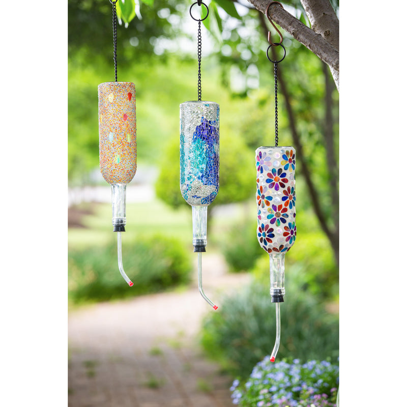 Mosaic Glass Bottle Hummingbird Feeder, 3 Asst.