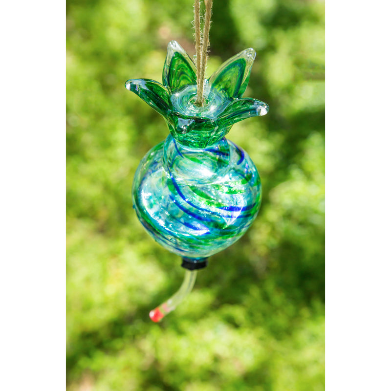 Hanging Art Glass Hummingbird Feeder with Built-in Floral Ant Moat, 3 ASST.