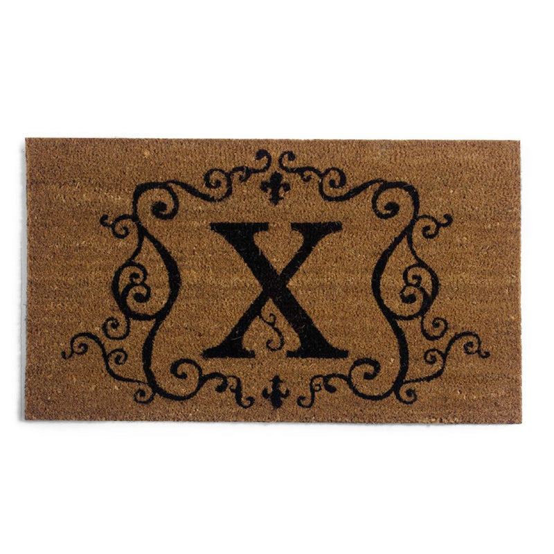 Evergreen Flag Monogram Coir Doormat Insert - X