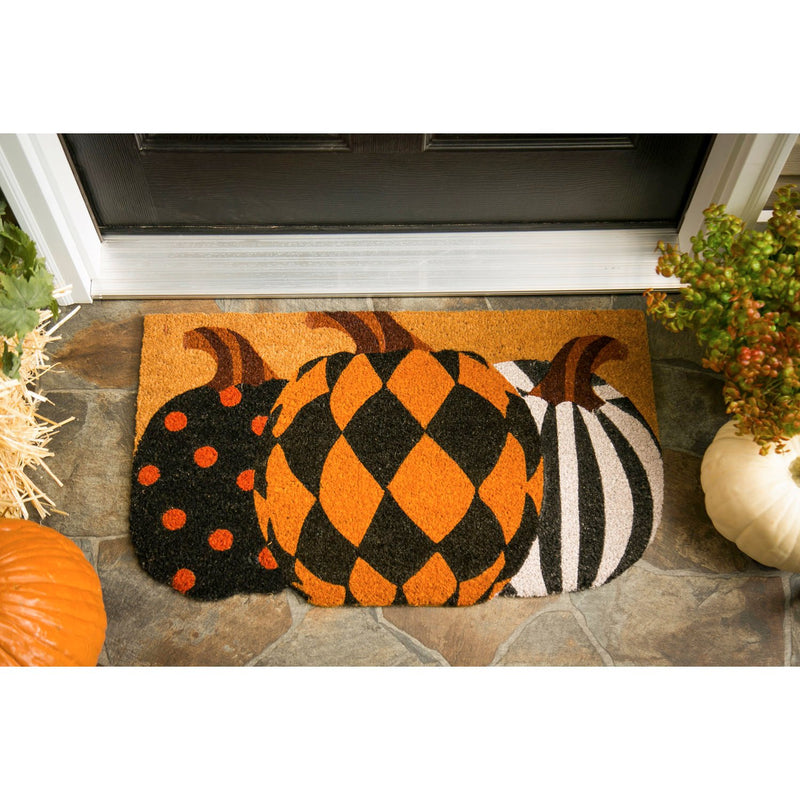 Evergreen Flag Beautiful Autumn Patterned Pumpkins Shaped Coir Doormat - 30 x 1 x 18 Inches Fade and Weather Resistant Outdoor Floor Mat for Homes, Yards and Gardens