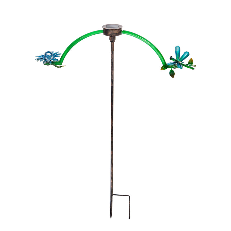 Evergreen Chasing White Light Solar Balancer Garden Stake, Dragonfly, 27.2''x 3.3'' x 34.3'' inches