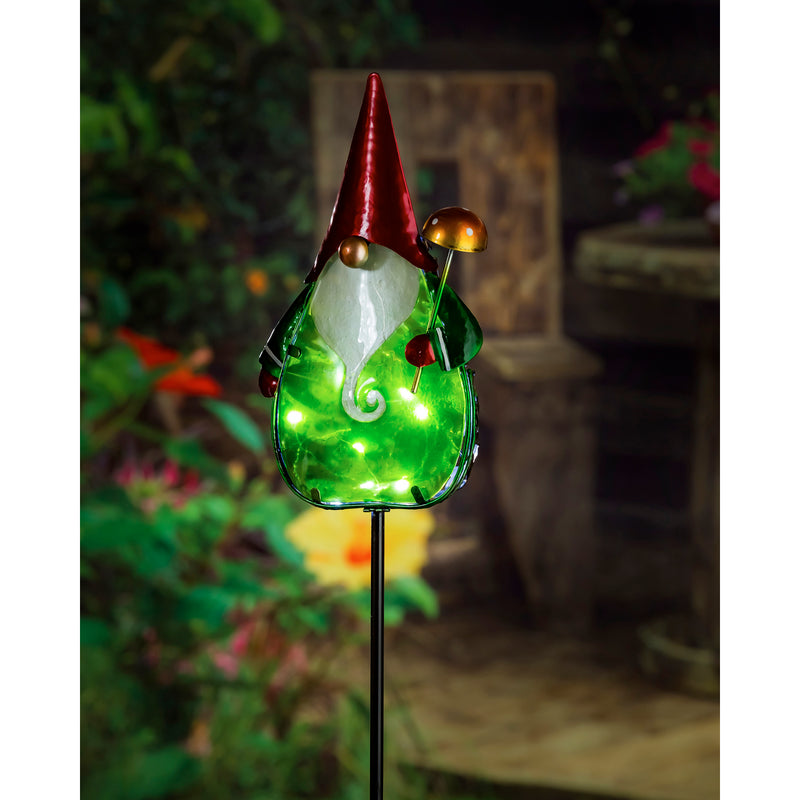 "Evergreen 36""H Secret Solar Garden Stake, Gnome, 3.2''x 6.1'' x 38.2'' inches"