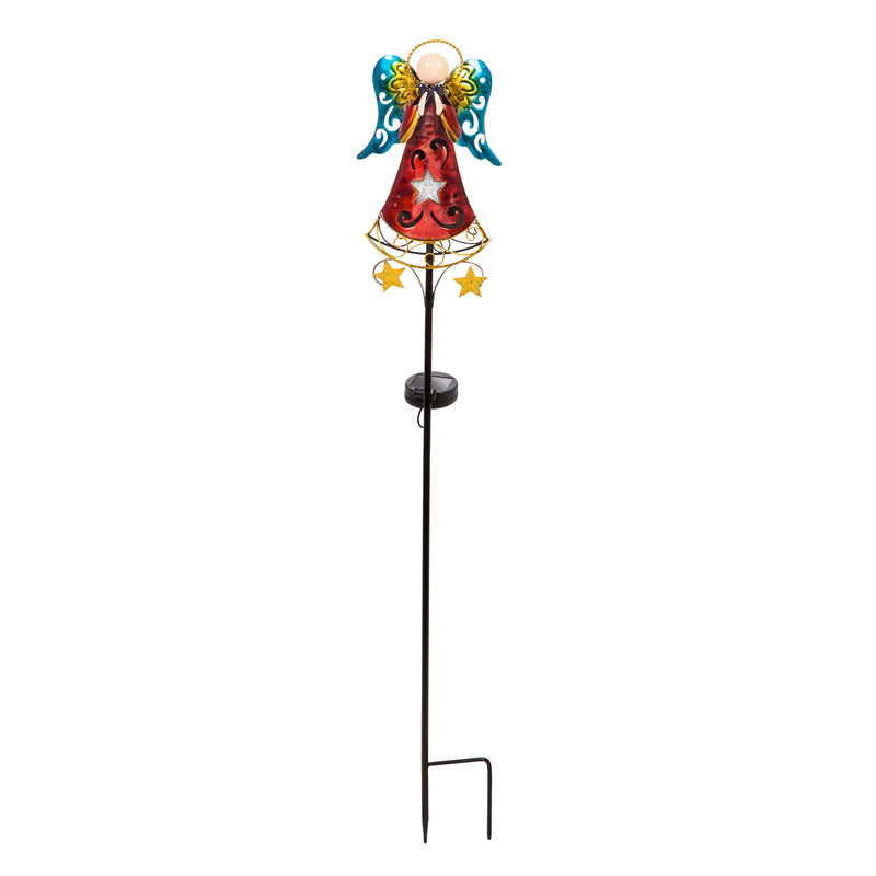 "Evergreen 35.5""H Spinning Light Solar Garden Stake, Angel, 7.1''x 2.6'' x 35.4'' inches"