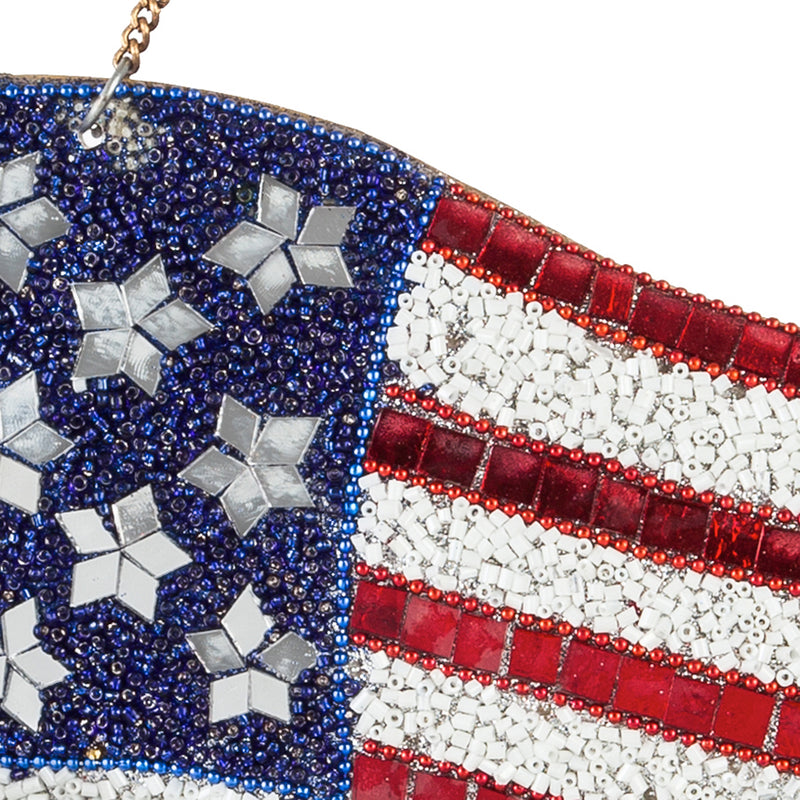 "Evergreen 27""W American Flag Beaded Wind Chime, 10'' x 1'' x 27'' inches."