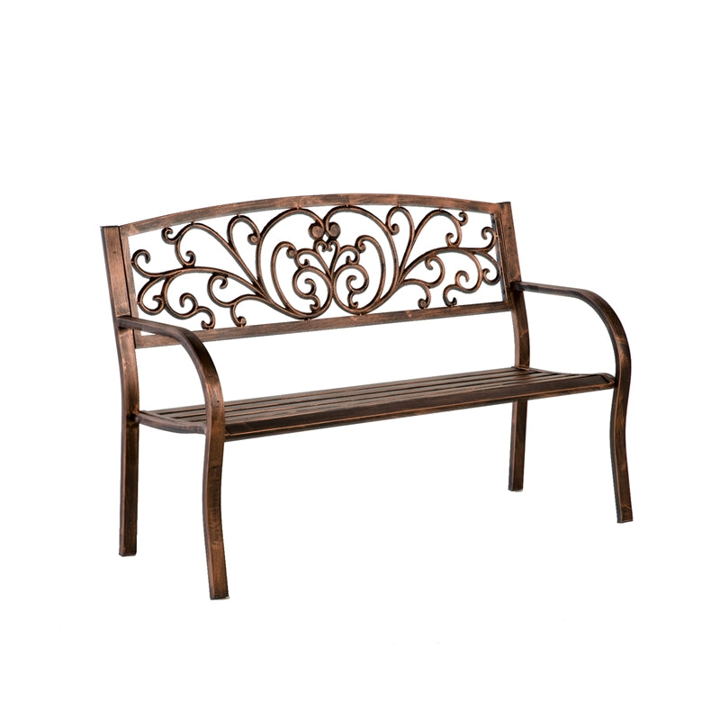 Evergreen Blooming Garden Metal Bench, 50'' x  21'' x 34'' inches.