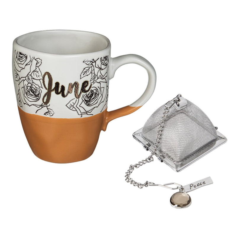 Evergreen Ceramic Birthday Cup w/ metallic accent, Tea Charm, and box, 16 OZ., June, 5.5'' x 3.5'' x 4.5'' inches