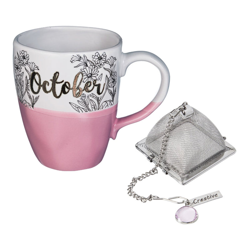 Evergreen Ceramic Birthday Cup w/ metallic accent, Tea Charm, and box, 16 OZ., October, 5.5'' x 3.5'' x 4.5'' inches