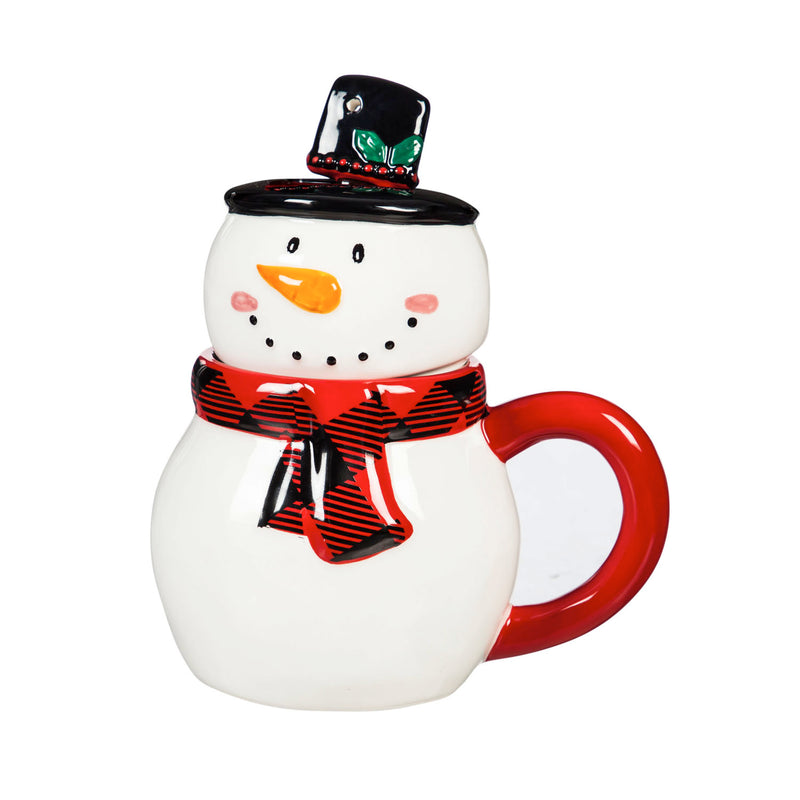 Evergreen Ceramic Cup, 12 OZ, Novelty Shape with Lid and Spoon, Snowman, 5.25'' x 4'' x 4.37'' inches