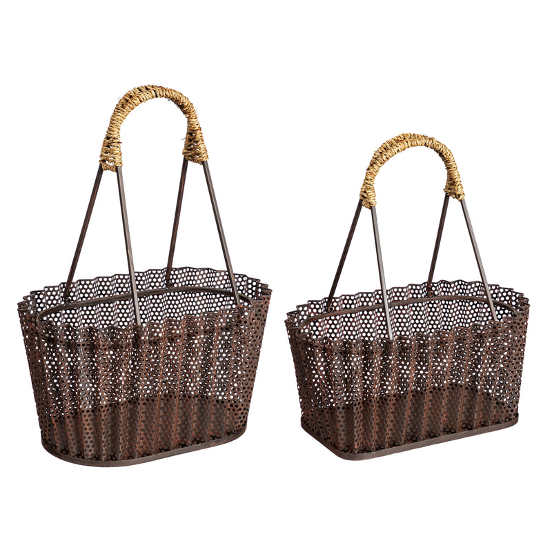 Metal Basket with Rattan Handle, Set of 2, 16'' x 10.3'' x 21.3'' inches