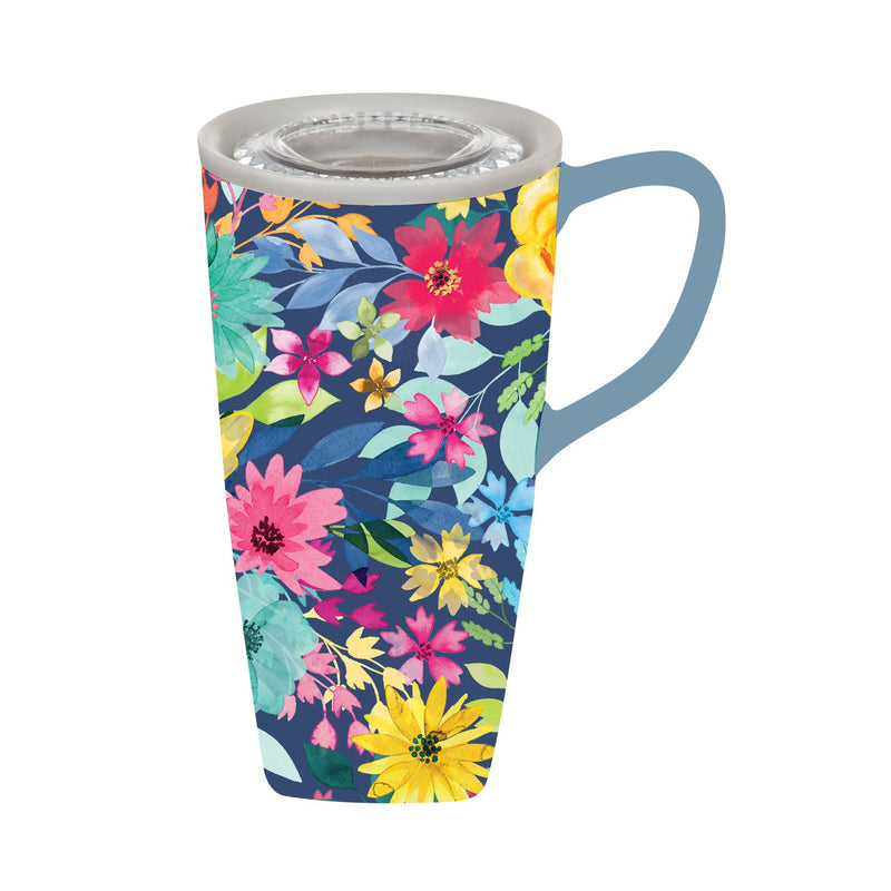 Cypress Home Beautiful Summer Garden Ceramic Travel Cup - 5 x 6 x 4 Inches Homegoods and Accessories for Every Space