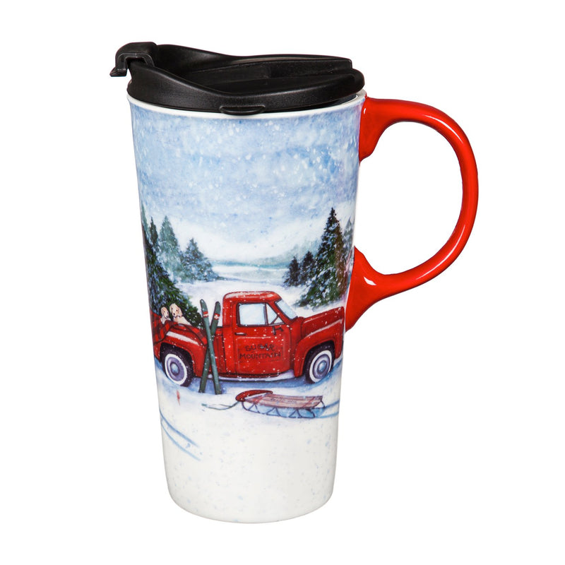 Ceramic Travel Cup, 17 OZ. ,w/box, Truck and Sled