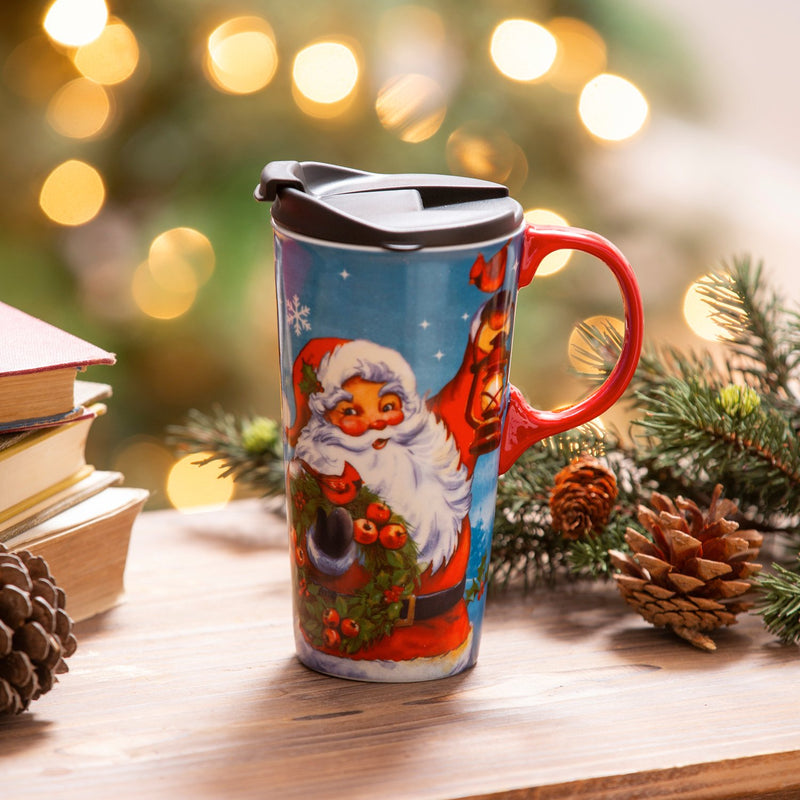 Ceramic Travel Cup, 17 OZ. ,w/box, Santa Clause is coming to town