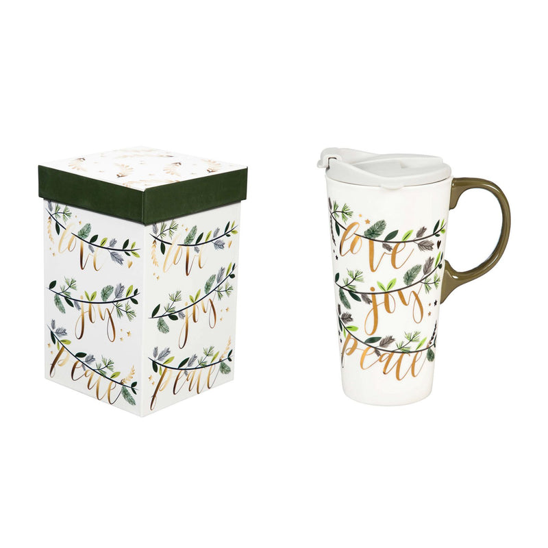 Cypress Home Beautiful Love Joy Peace Ceramic Travel Cup with Matching Box - 4 x 5 x 7 Inches Indoor/Outdoor home goods For Kitchens, Parties and Homes