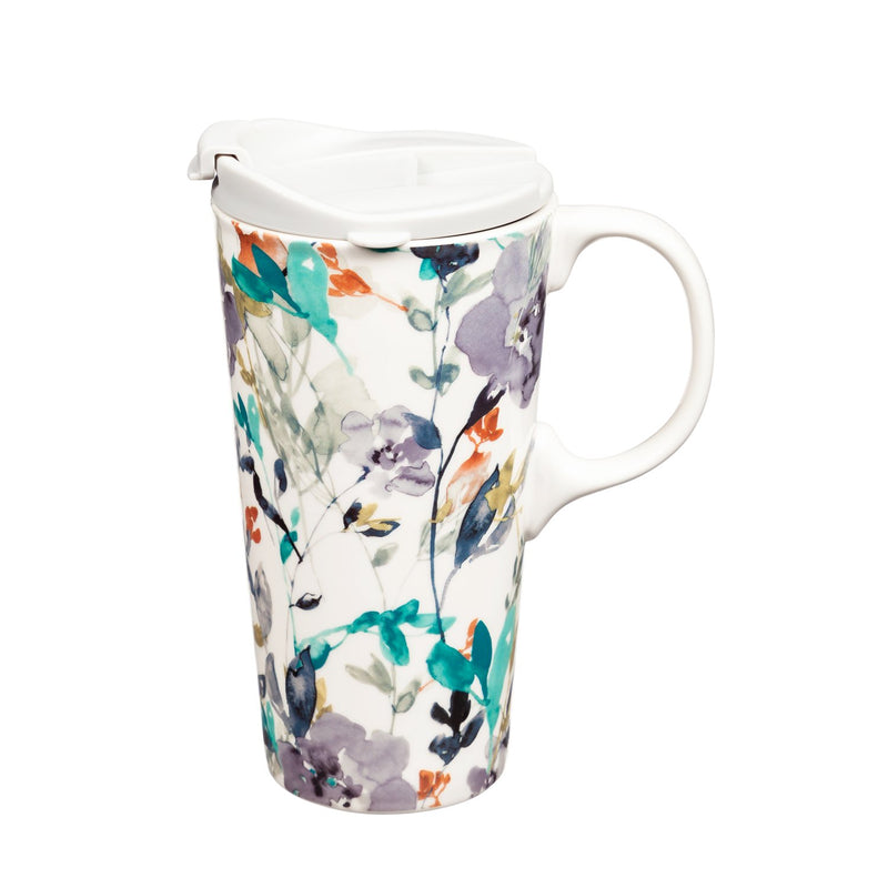 Cypress Home Beautiful Flowers in Fall Ceramic Travel Cup - 5 x 7 x 4 Inches Homegoods and Accessories for Every Space