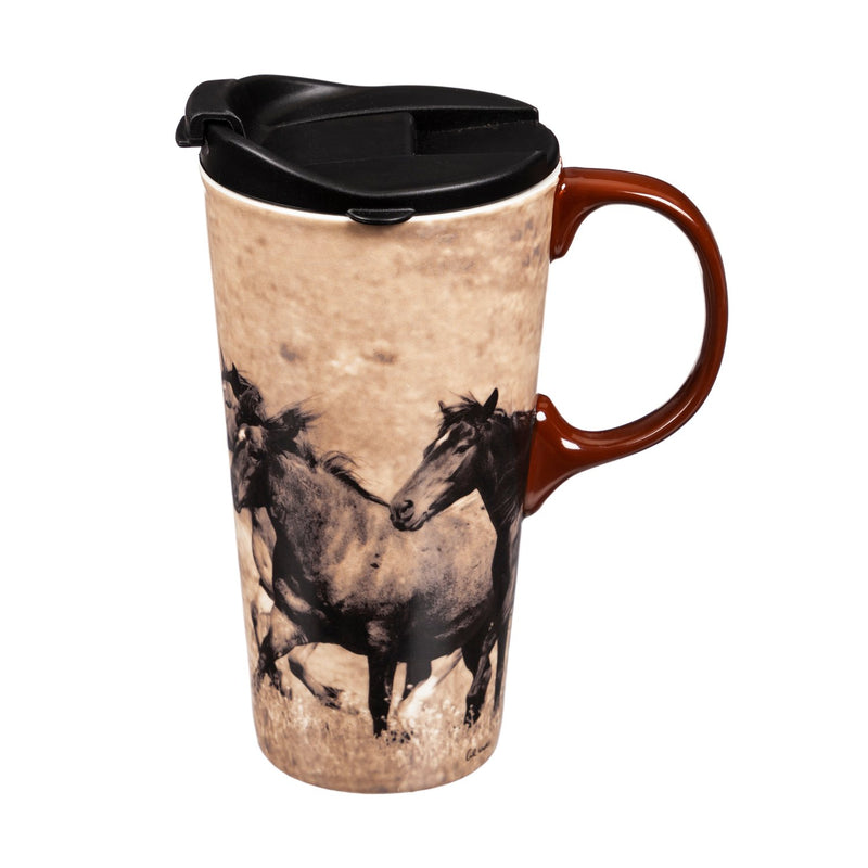"Cypress Home Travel Mug for Horse and Animal Lovers,""Wild Chestnut"" Ceramic Coffee Cup - 5 x 7 x 4 Inches Insulated Coffee Mug"