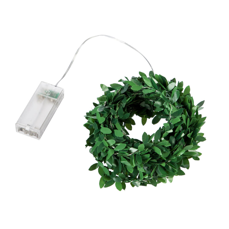 16' Green Leaf Rattan String Light with 50 LED Lights and Timer Function, 202'' x 1'' x 1'' inches