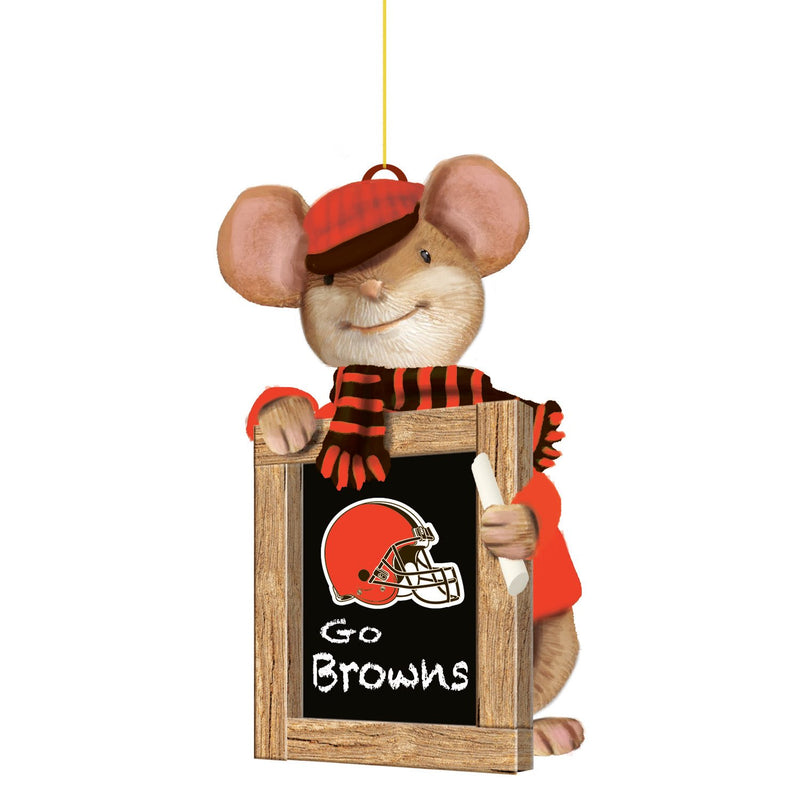Evergreen Cleveland Browns, Holiday Mouse Ornament, 2'' x 1.5 '' x 3.5'' inches