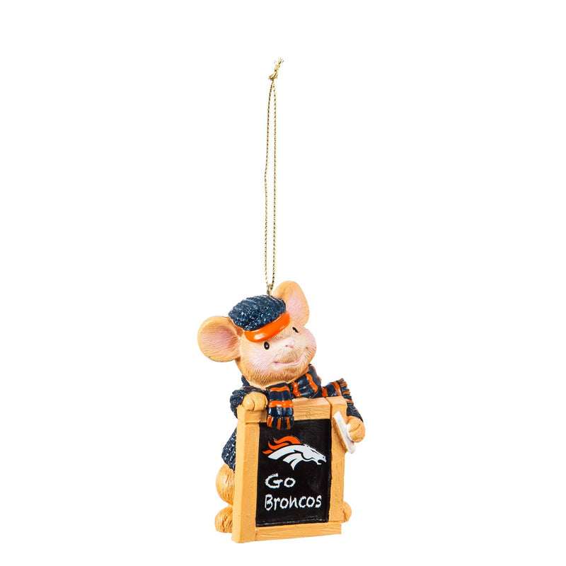 Evergreen Denver Broncos, Holiday Mouse Ornament, 2'' x 1.5 '' x 3.5'' inches