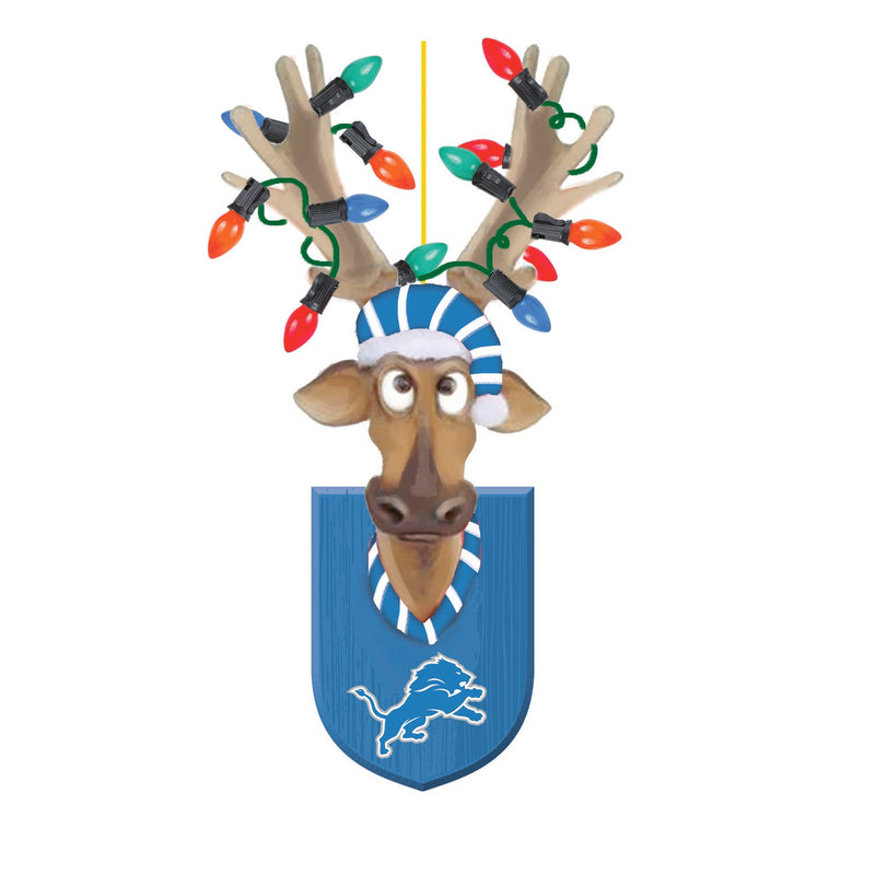 Evergreen Detroit Lions, Resin Reindeer Orn, 1.57'' x 2.36 '' x 4.02'' inches