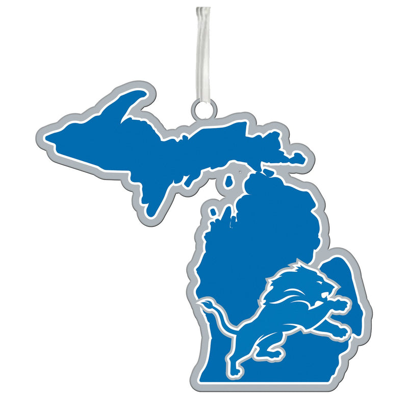 Evergreen Detroit Lions, State Ornament, 5.3'' x 0.2 '' x 5.1'' inches