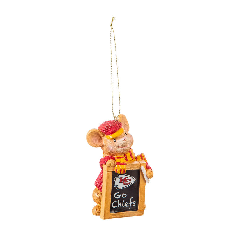 Evergreen Kansas City Chiefs, Holiday Mouse Ornament, 2'' x 1.5 '' x 3.5'' inches