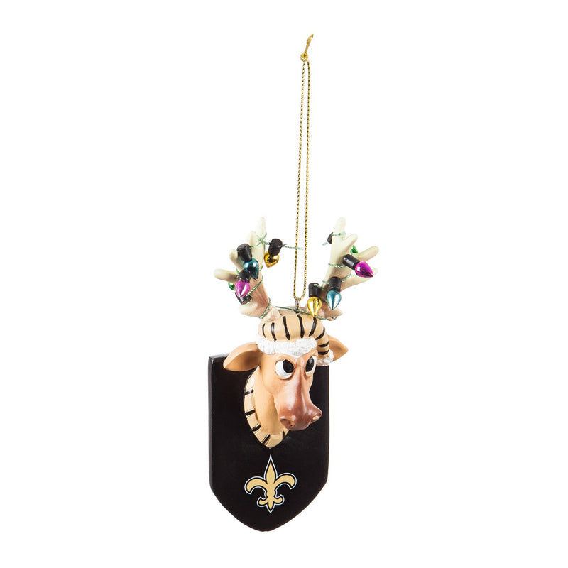 Evergreen New Orleans Saints, Resin Reindeer Orn, 1.57'' x 2.36 '' x 4.02'' inches