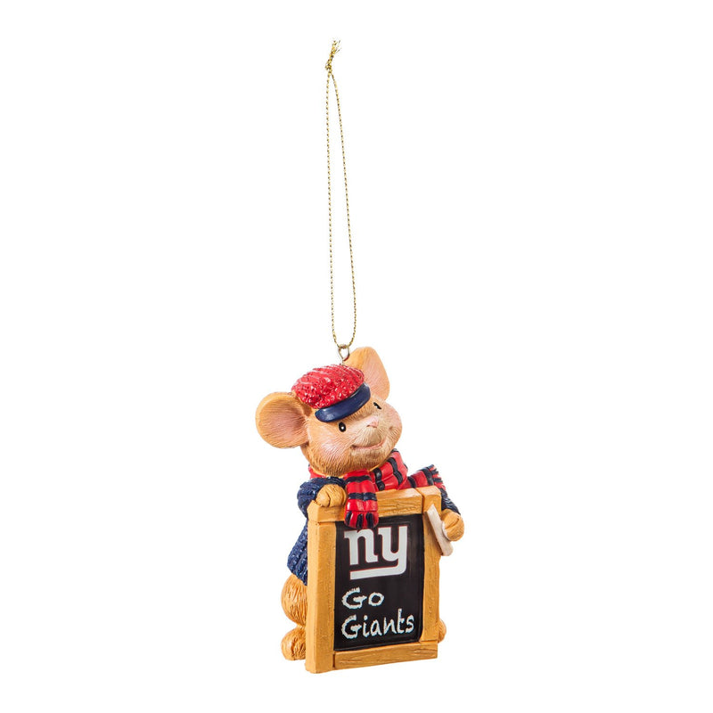 Evergreen New York Giants, Holiday Mouse Ornament, 2'' x 1.5 '' x 3.5'' inches