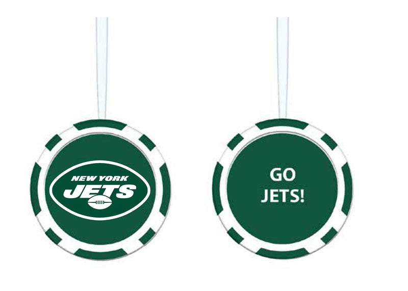 Evergreen Enterprises Game Chip Ornament, New York Jets, 2.5'' x 2.5 '' x 0.25'' inches