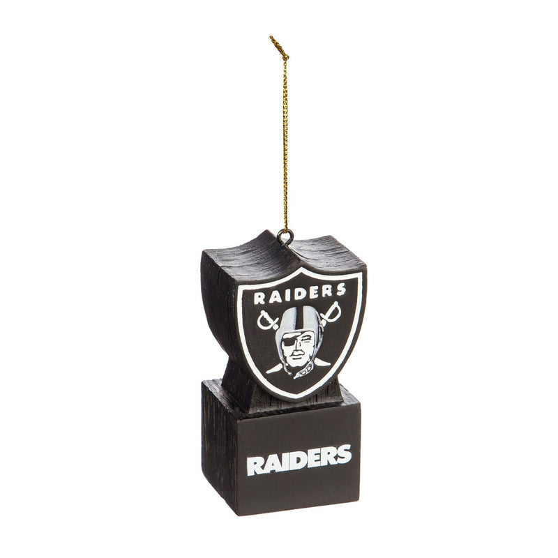 Evergreen Mascot Ornament,  Oakland Raiders, Shield, 1.5'' x 1.6 '' x 3.5'' inches