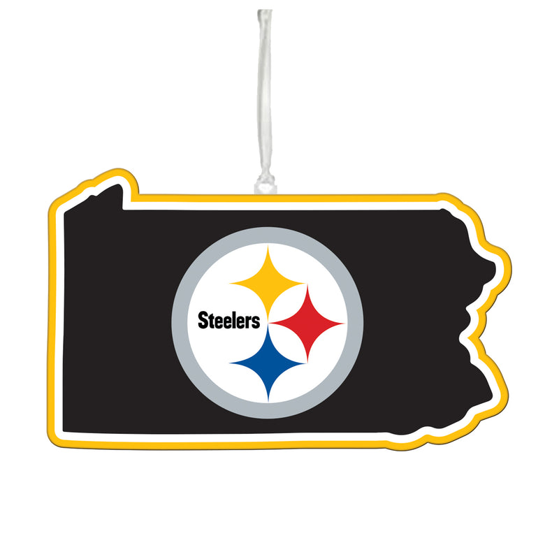 Evergreen Pittsburgh Steelers, State Ornament, 5.3'' x 0.2 '' x 5.1'' inches