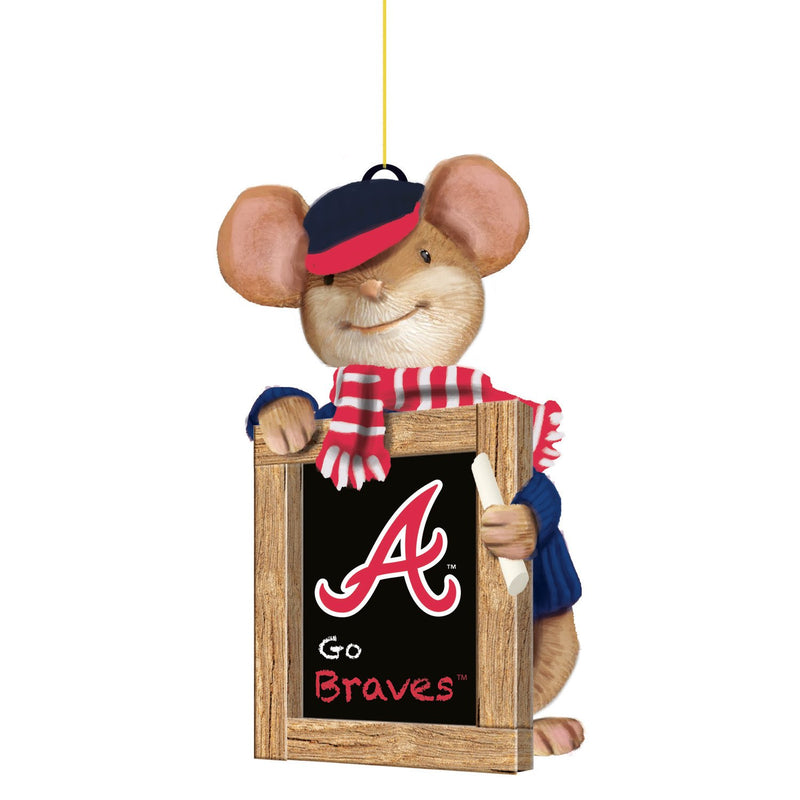 Evergreen Atlanta Braves, Holiday Mouse Ornament, 2'' x 1.5 '' x 3.5'' inches
