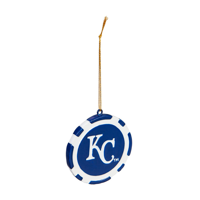 Evergreen Kansas City Royals, Game Chip Ornament, 2.5'' x 2.5 '' x 0.25'' inches