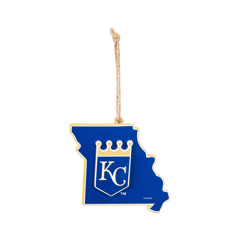 Evergreen Kansas City Royals, State Ornament, 5.3'' x 0.2 '' x 5.1'' inches