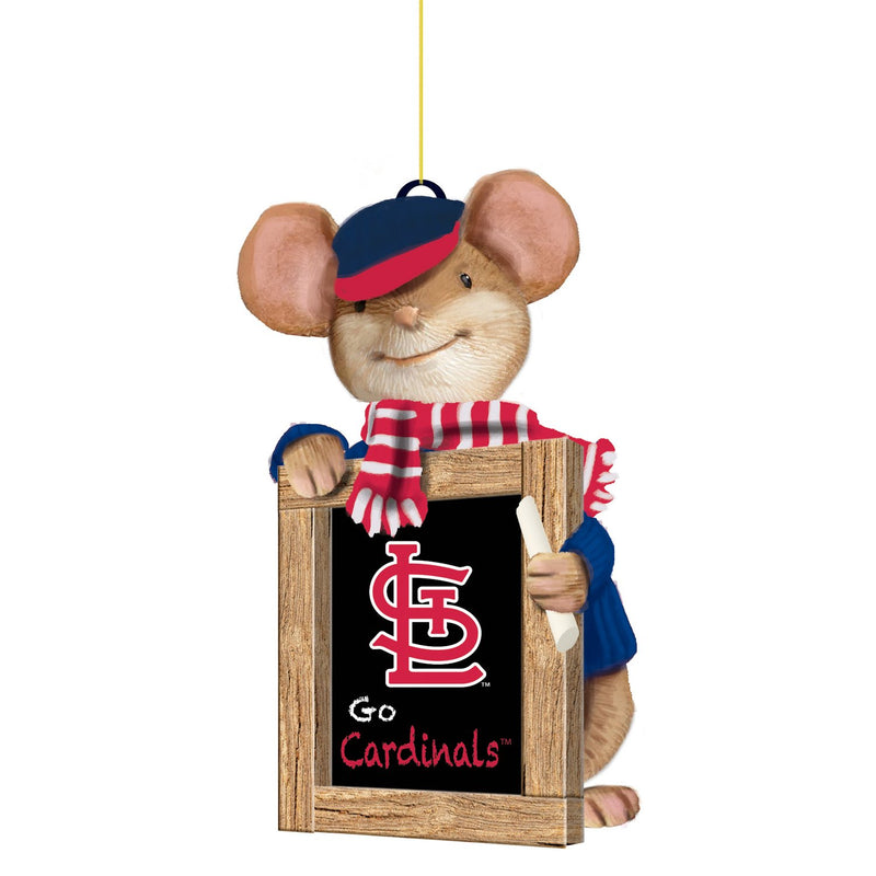 Evergreen St Louis Cardinals, Holiday Mouse Ornament, 2'' x 1.5 '' x 3.5'' inches