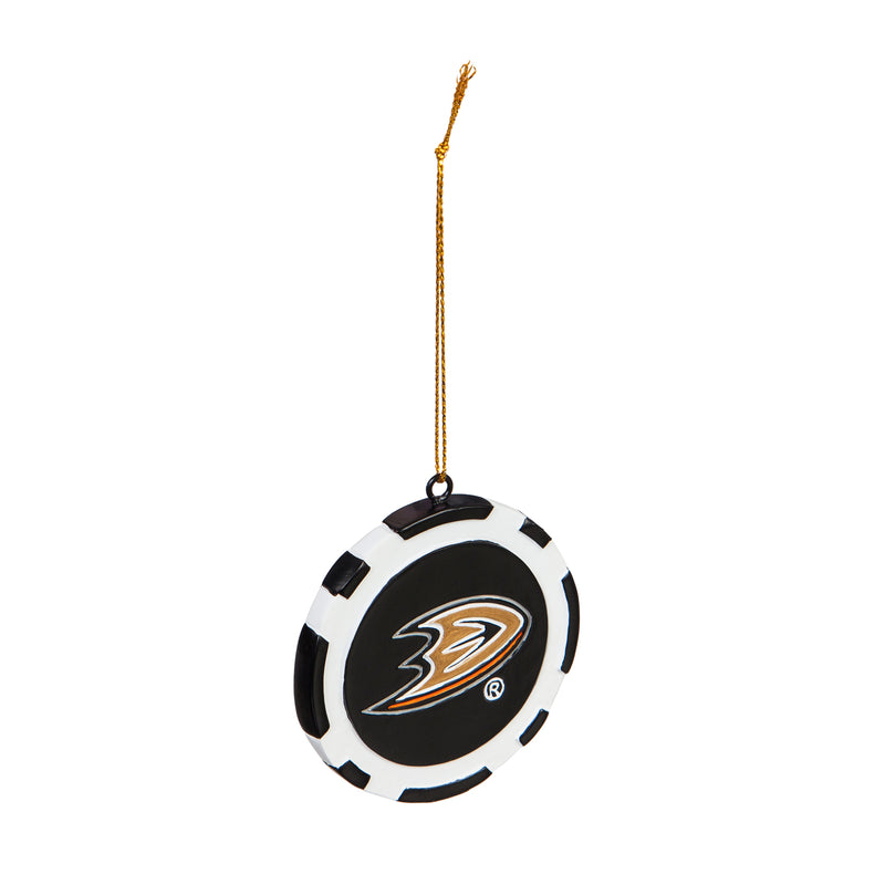 "Team Sports America NHL Anaheim Ducks Unique Game Chip Christmas Ornament - 2.5"" Long x 2.5"" Wide x 0.25"" High"