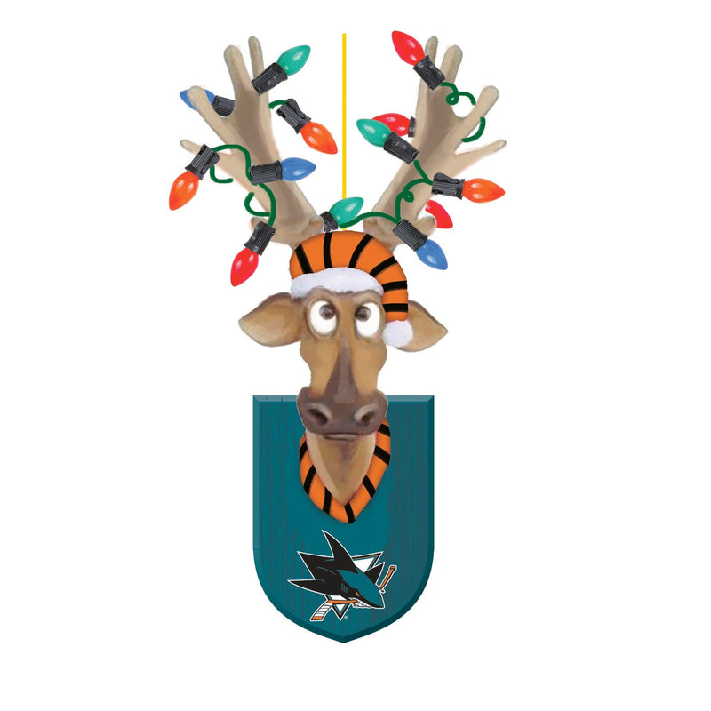 Evergreen San Jose Sharks, Resin Reindeer Orn, 1.57'' x 2.36 '' x 4.02'' inches
