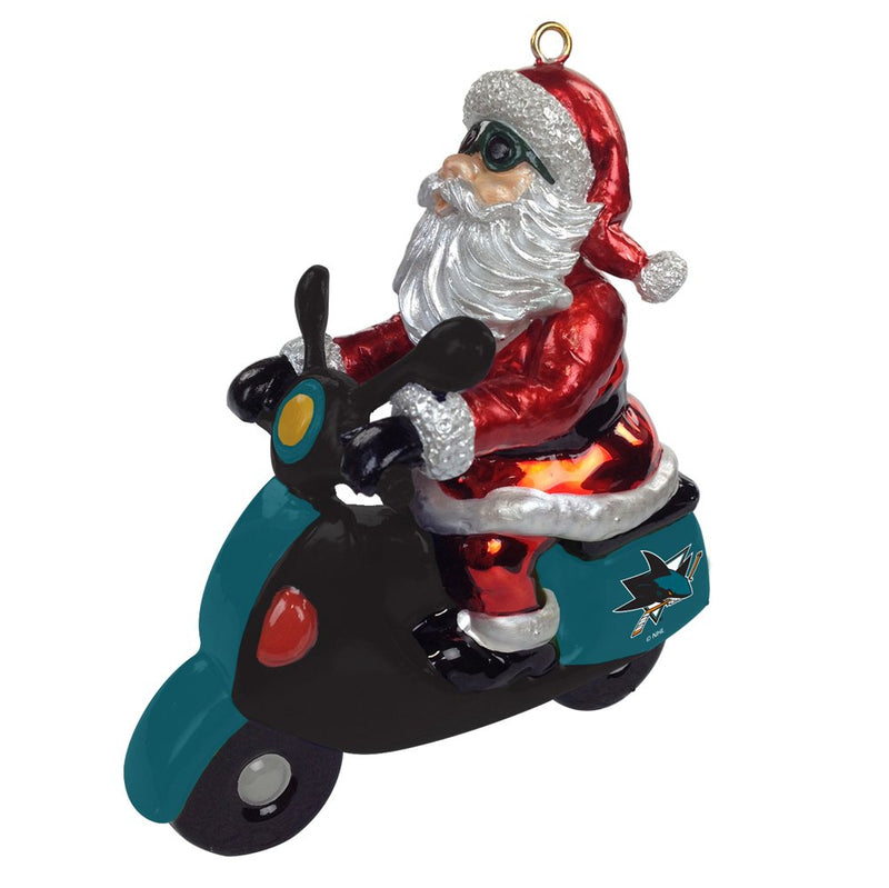 Team Sports America San Jose Sharks - Santa Gets There, Orn, Scooter, 2.44'' x 4.72 '' x 4.13'' inches