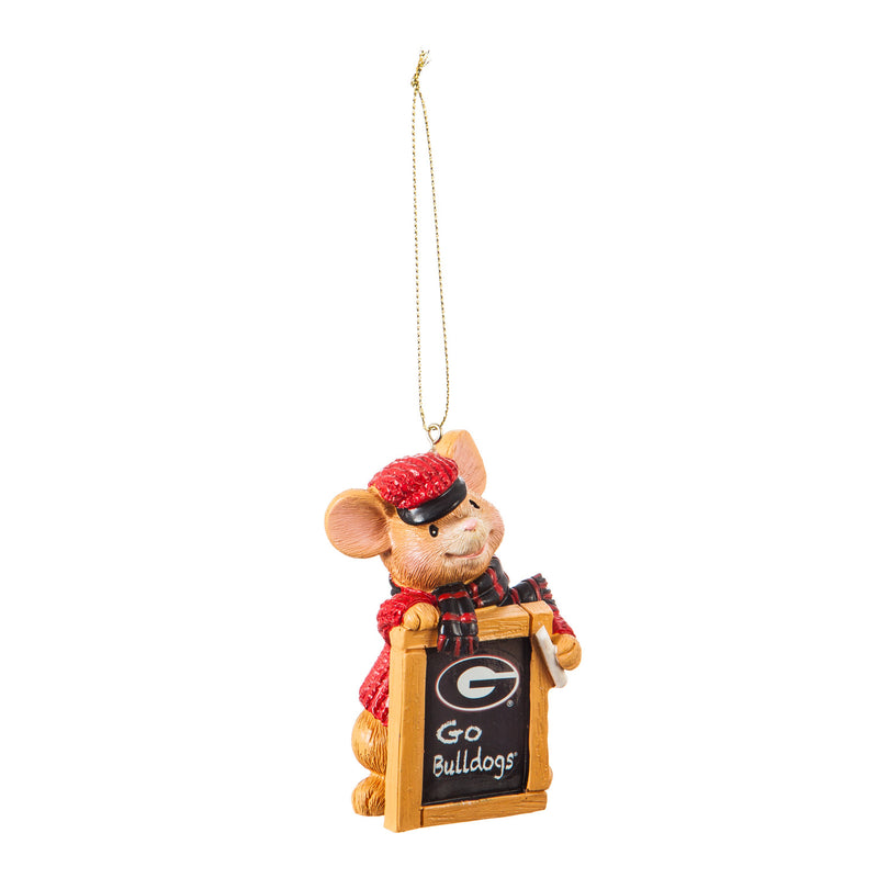 Evergreen University of Georgia, Holiday Mouse Ornament, 2'' x 1.5 '' x 3.5'' inches