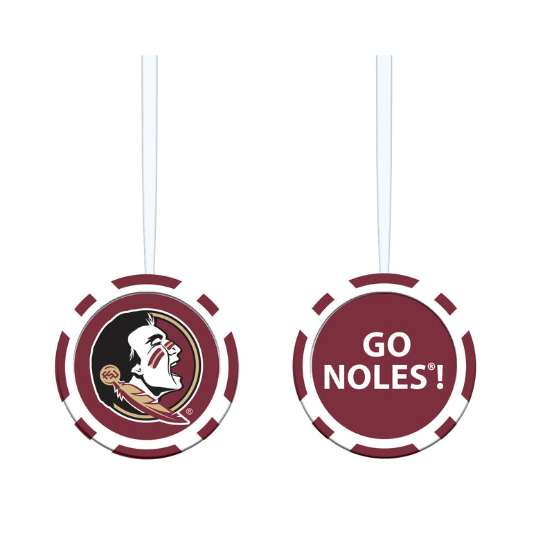 "Team Sports America NCAA Florida State University Unique Game Chip Christmas Ornament - 2.5"" Long x 2.5"" Wide x 0.25"" High"