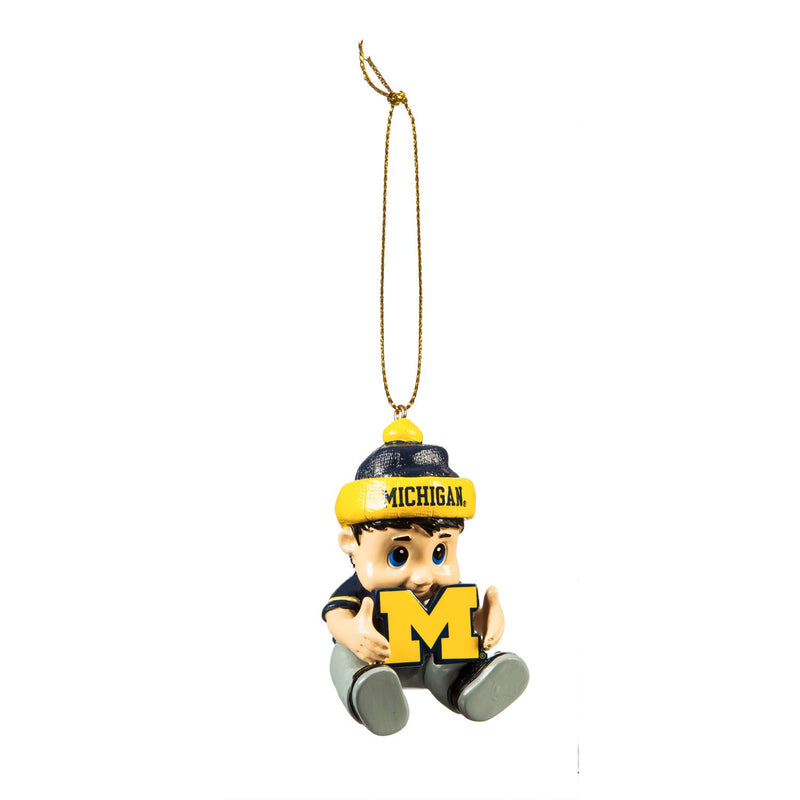 "Team Sports America NCAA University of Michigan Remarkable Adorable Lil Fan Christmas Ornament - 2"" Long x 2"" Wide x 3"" High"