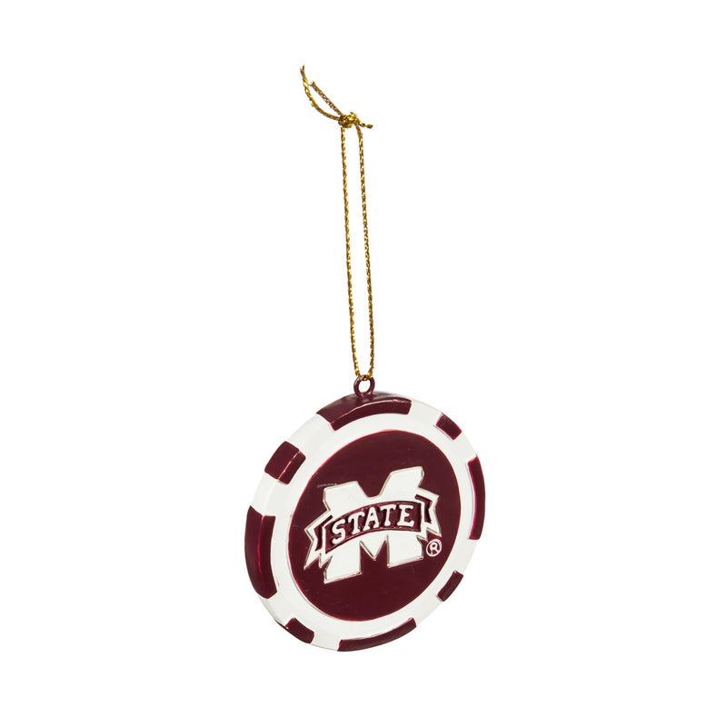 Evergreen Game Chip Ornament, Mississippi State, 2.5'' x 2.5 '' x 0.25'' inches