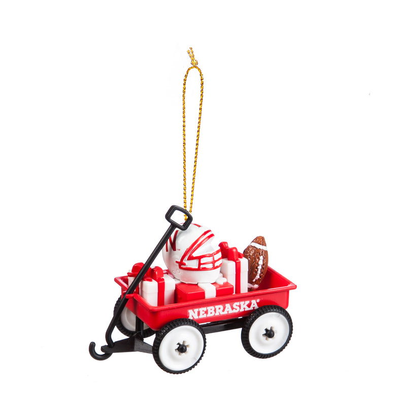 Evergreen Enterprises Team Wagon Ornament, Nebraska, 3.13'' x 1.75 '' x 2.5'' inches