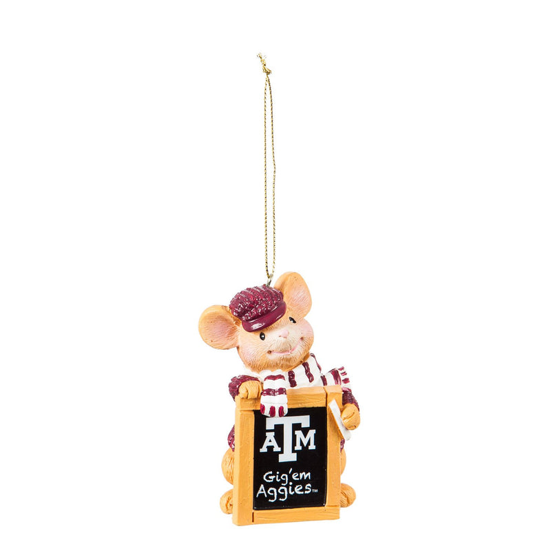 Evergreen Texas A&M, Holiday Mouse Ornament, 2'' x 1.5 '' x 3.5'' inches
