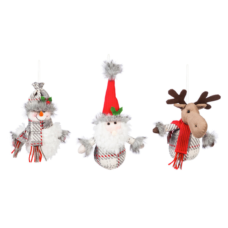 Fabric Ornament, Santa/Snowman/Moose, 3 Assorted, 2'' x 4.1'' x 7.1'' inches