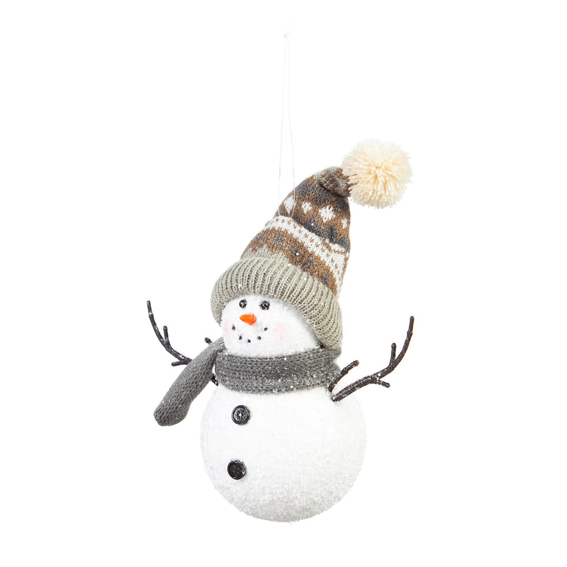 Snowman Ornament with Hat and Scarf, 6'' x 5'' x 6.5'' inches