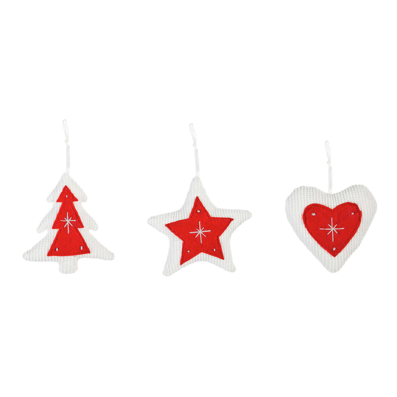 Knitted Fabric Ornament, Tree/Star/Heart, 3 Assorted, 4.8'' x 1.5'' x 4.5'' inches