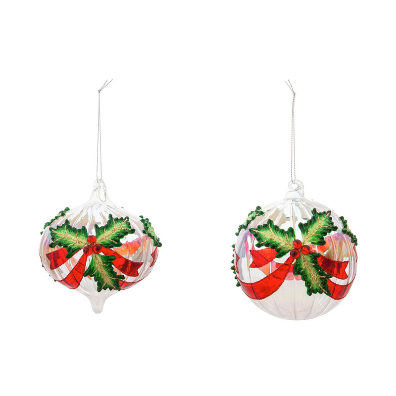 Glass Holly Ball Ornament, 2 Assorted Designs, 3.8'' x 3.8'' x 4'' inches