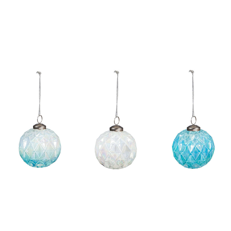 "3.5"" Glass Geometric Ombre Ornament, 3 Assorted, 3.5'' x 3.5'' x 3.5'' inches"