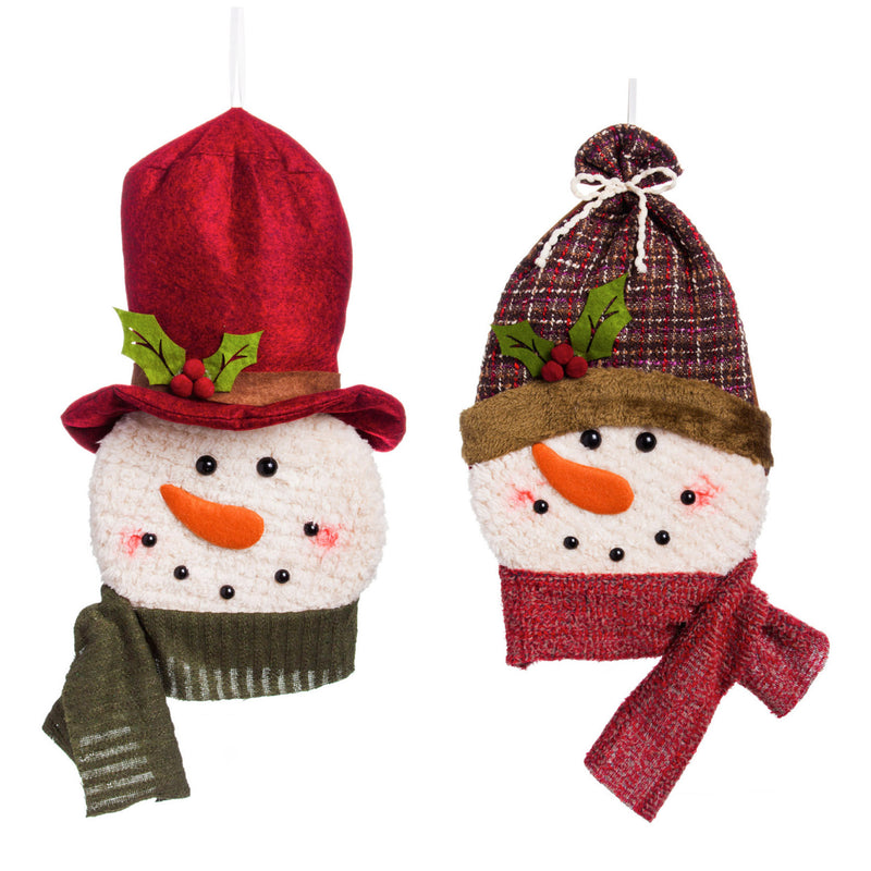 Evergreen Rustic Forest Snowman LED Plush Hanging Décor, 2 Assorted, 1.6'' x 14.6'' x 9.1'' inches