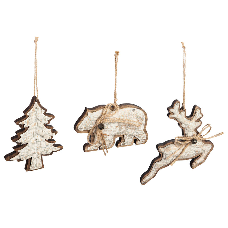 Wood and Metal Ornament with Jute Bow, Light Brown, 3 Assorted, 5.8'' x 1'' x 5.9'' inches